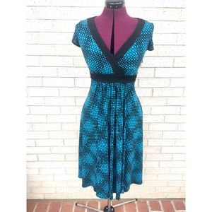 Maggy London Blue Green Faux Wrap Dot Design Dress